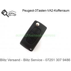 Gehäuse Klappschüssel VA2 - 3 Tasten Citroen Peugeot Fiat mit Battery Holder