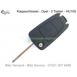 Klappschlüssel Opel 2 tasten HU100