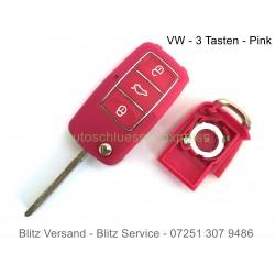 Autoschlüssel Gehäuse VW 3 Tasten Pink Chrome