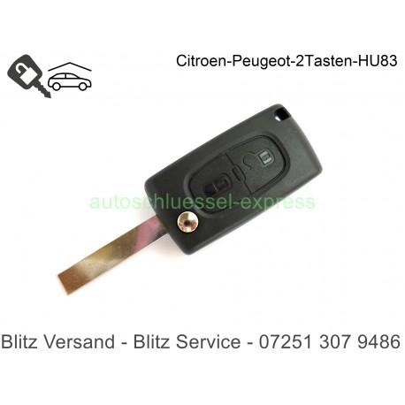 Autoschüssel Citroen C3 C4 C5 C8 Xsara 2 Tasten mit Batteriekontakt  HU83