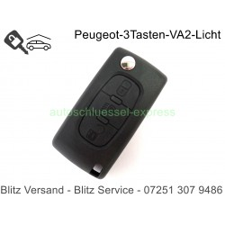 Autoschüssel Gehäuse 3 Tasten Citroen C4, C6 Batteriekontakt VA2 Licht
