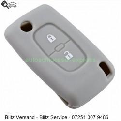 Autoschlüssel Silikonhülle Peugeot 2 Tasten grau