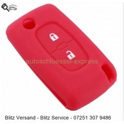 Autoschlüssel Silikonhülle Peugeot 2 Tasten rot