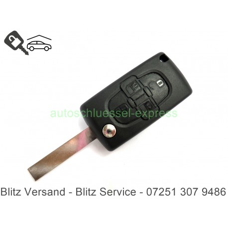 Flip Folding Key 4 buttons Peugeot HU83 - 807/Citroen C8 Key